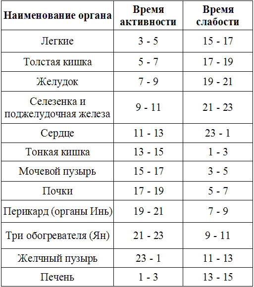 Время активности меридиана